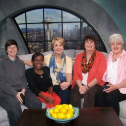 Lisa, Lucie, Margaret Larson, Kris and Heidi on NEW DAY Set